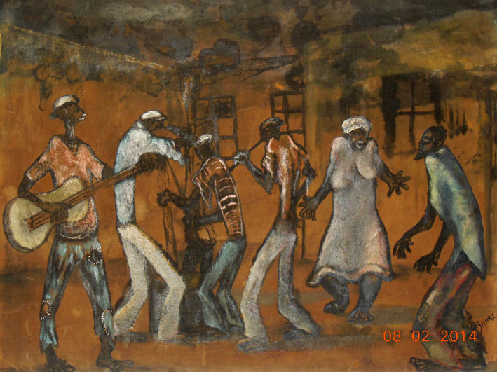 "Lucas SITHOLE LS6409 ""Dancing around the fire"", 1964 - m/media: watercolour + cray-pas pastel - 44x55 cm"