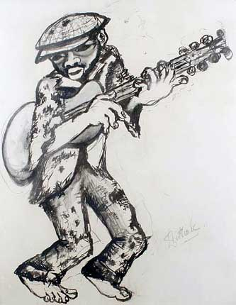 "Lucas SITHOLE LS6614 ""Guitar Player"", 1966 Charcoal and wash on paper - 094x075 cm"
