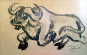 "Lucas SITHOLE LS6725 ""Buffalo"", 1967 - Brush and ink on paper - meas. 082x101 cm"