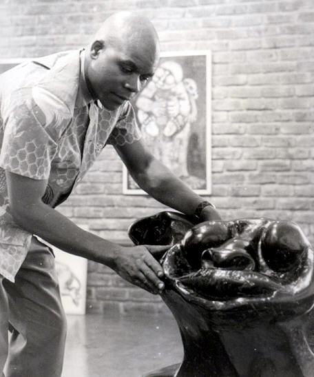 "Lucas SITHOLE with LS6817 ""Bullfighter"", 1968 Ironwood at Gallery 101 Johannesburg 1968"