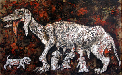 "LUCAS SITHOLE LS6820 ""Dog and Pups II."", 1968 - m/media/paper - 063x101.5 cm"
