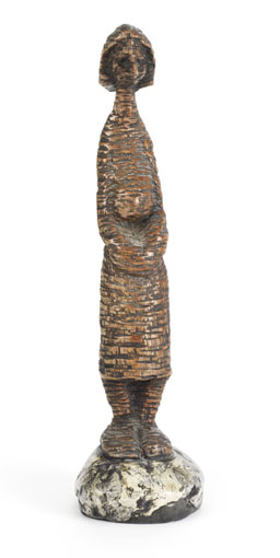 "LS7460 Lucas SITHOLE ""I'm tired!"", 1974 - timulo (sneeze) wood on liquid steel base - 37x10x10 cm"