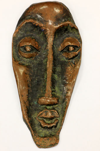"Lucas SITHOLE ""Mask"" pre-1960 - beaten copper sheet with copper oxide patina - 56.5x26.6x5 cm"