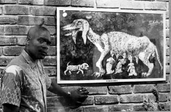 Lucas SITHOLE discussing LS6820 at the Gallery 101 Johannesburg exhibition in 1968